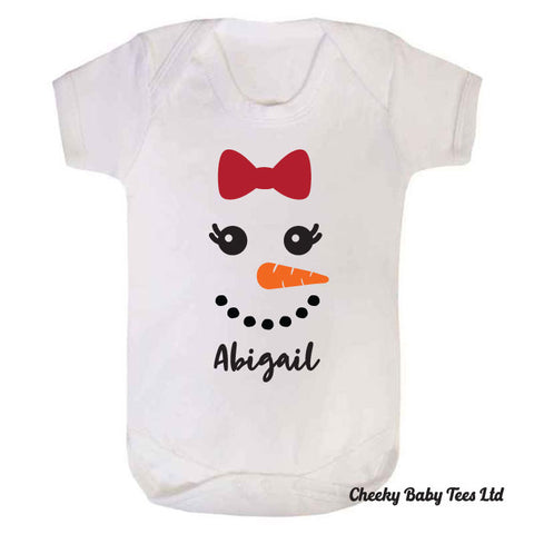 Personalised Snowman Girl Baby Grow