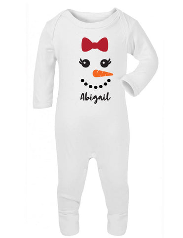 Personalised Snowman Girl Sleepsuit