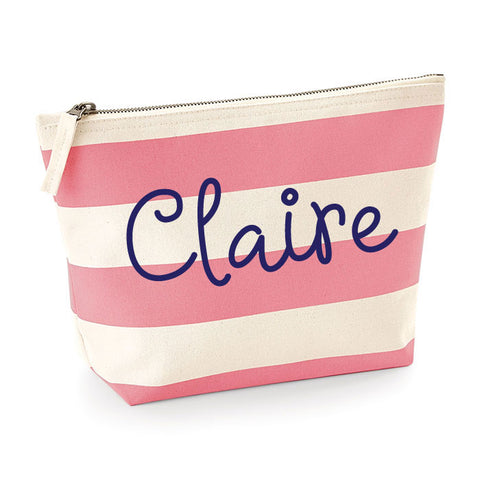 Personalised Striped MakeUp Bag