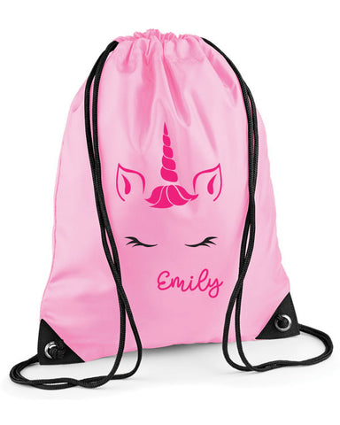 Personalised Unicorn Face Swimming Bag
