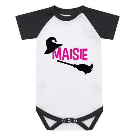 Personalised Witch Halloween Baby Grow