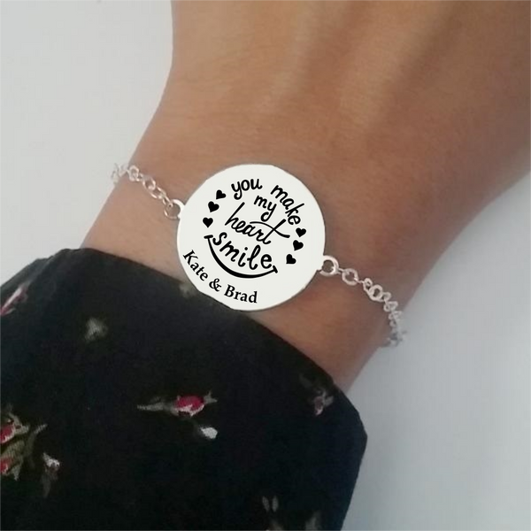 Pulsera Bölbo® Personalizada - You make my heart smile - Plata