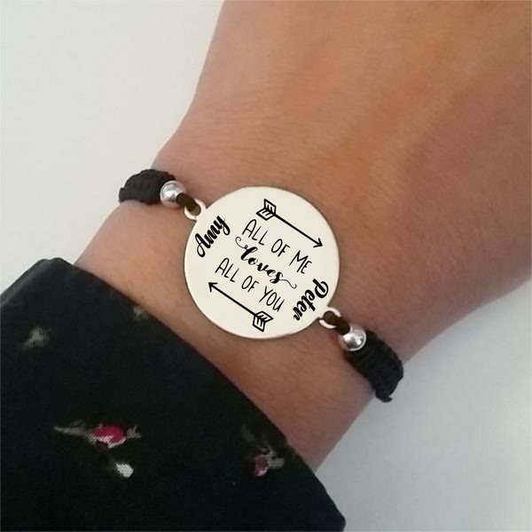 Pulsera Bölbo® Personalizada - All of me loves all of you - Plata