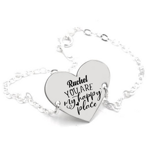 Pulsera Bölbo® Personalizada - You are my happy place - Plata regalo aniversariom regalo parejas