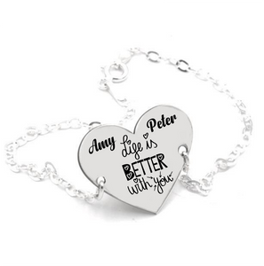 Pulsera Bölbo® Personalizada - Life is better with you - Plata pulsera pareja, pulsera aniversario