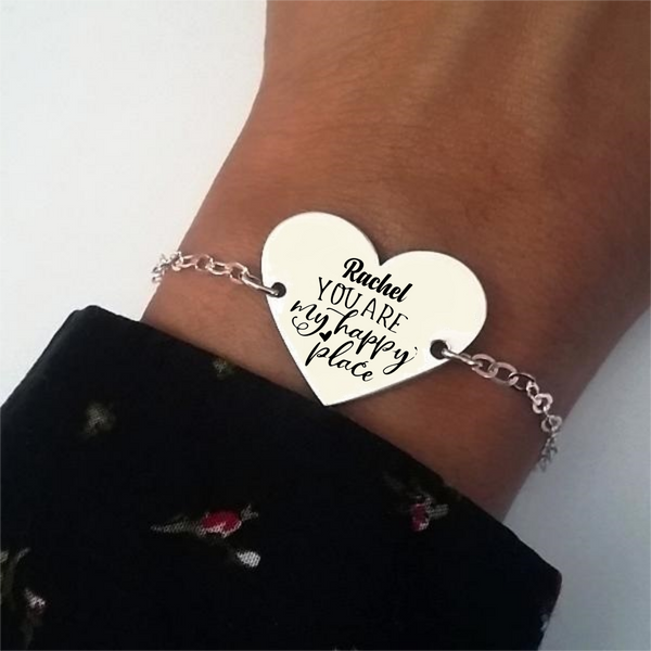 Pulsera Bölbo® Personalizada - You are my happy place - Plata