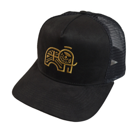 Dominic Paul Cosmetics Black Suede Effect Trucker