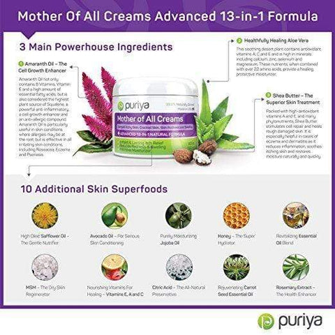 Puriya Cream For Eczema, Psoriasis, Rosacea, Dermatitis, Shingles and Rashes - Regular (4.5 oz), Skin Care, London Loves Beauty