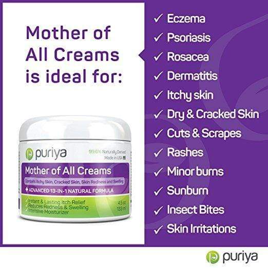 Puriya Skin Care Puriya Cream For Eczema, Psoriasis, Rosacea, Dermatitis, Shingles and Rashes (4.5 oz)