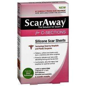 ScarAway Health Care ScarAway C-Section Scar Treatment Strips, Silicone Adhesive Soft Fabric 4-Sheets