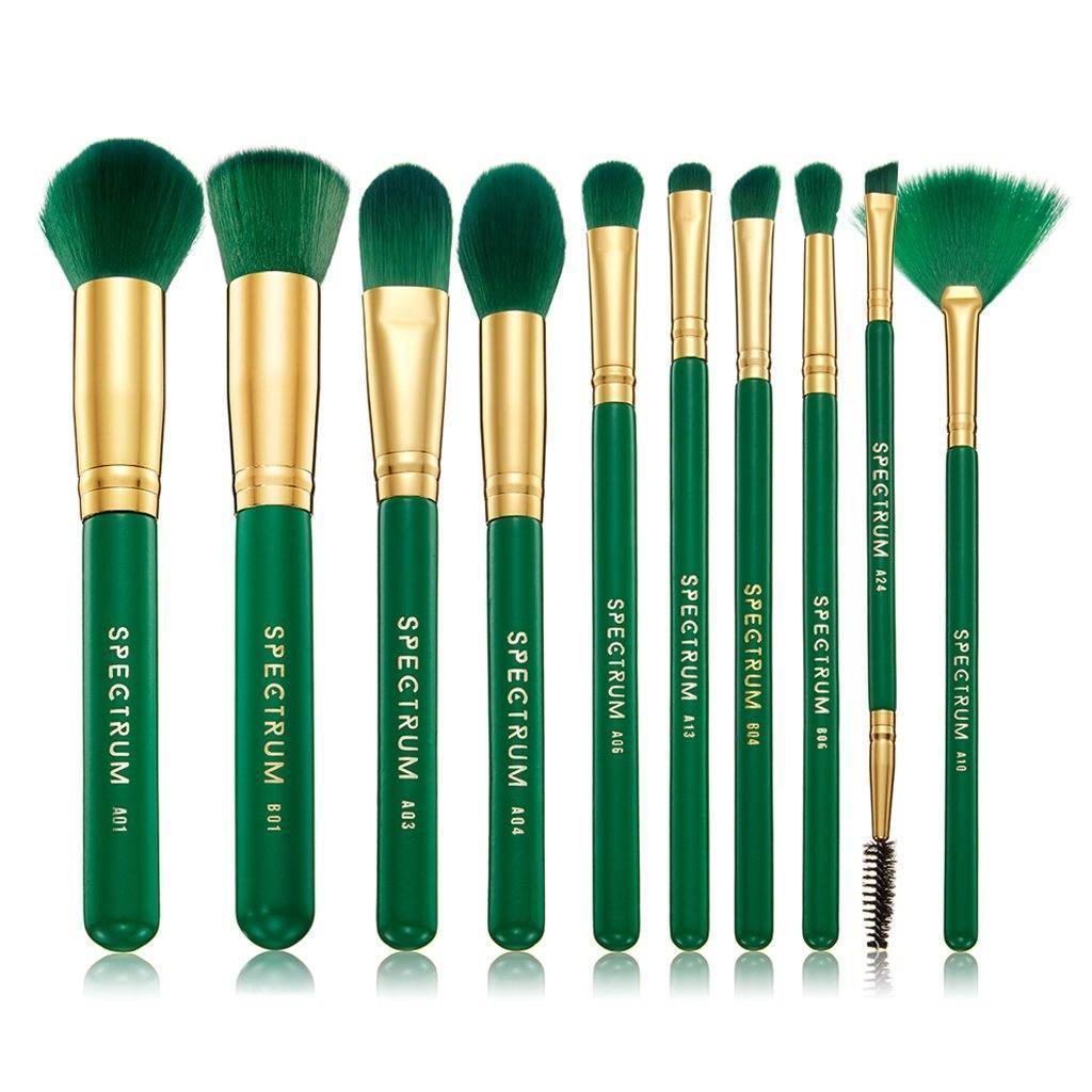Spectrum Collections 10 Piece Malachite Brush Set, Brush Set, London Loves Beauty