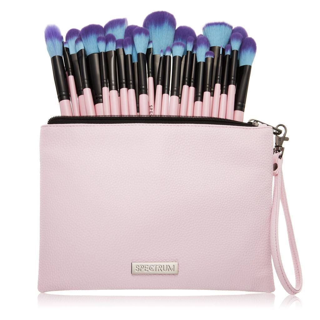 Spectrum Collections Millennial Pink 30 Piece Set With Pouch, Brush Set, London Loves Beauty