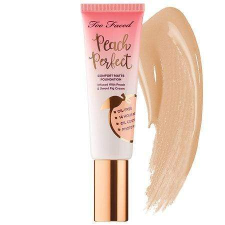 TOO FACED Peach Perfect Comfort Matte Foundation: Natural Beige, Makeup, London Loves Beauty