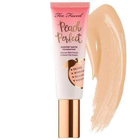TOO FACED Peach Perfect Comfort Matte Foundation: Porcelain, Makeup, London Loves Beauty