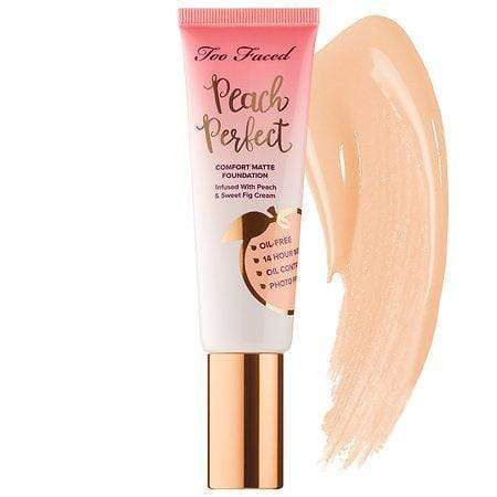 TOO FACED Peach Perfect Comfort Matte Foundation: Snow, Makeup, London Loves Beauty
