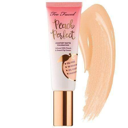 TOO FACED Peach Perfect Comfort Matte Foundation: Vanilla, Makeup, London Loves Beauty