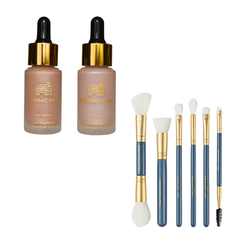 Dominic Paul Cosmetics 2 Liquid Highlighters + Brush Set