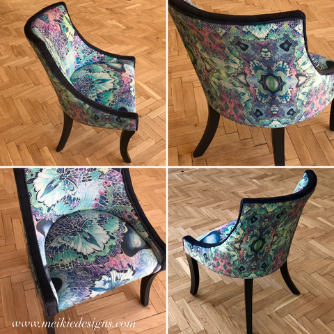 Metamorphosis into a Butterfly.... my latest re upholstered chair.