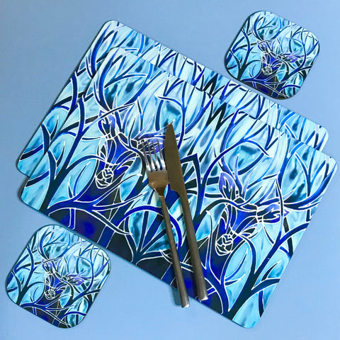 blue stag table mats and coasters - hard wearing place mats -