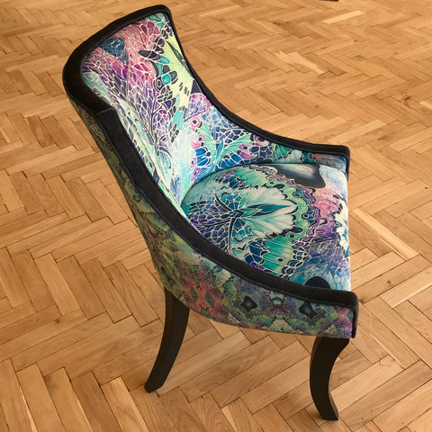 one off upholstered chair in designer fabrics featuring butterflies in contemporary colours