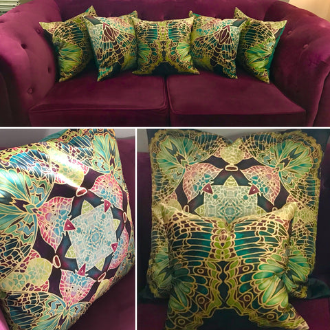 luxury velvet cushions - teal green butterfly cushions