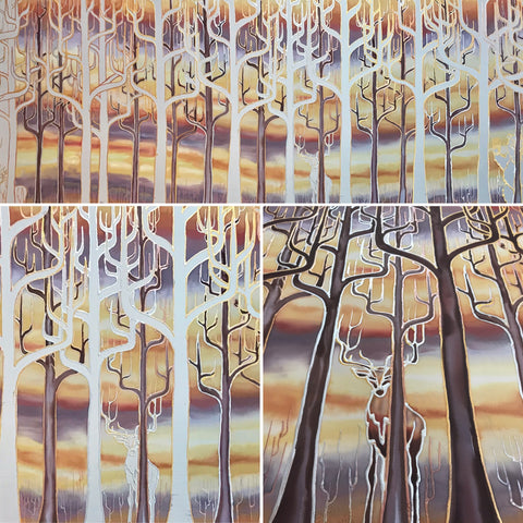 deco trees painting in progress ~ bespoke painting