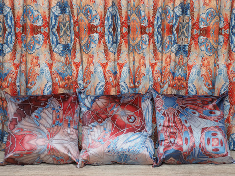 Custom designed butterfly cushions and curtains by Meikie