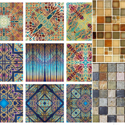 patterned tiles mixed with mini mosaic tiles