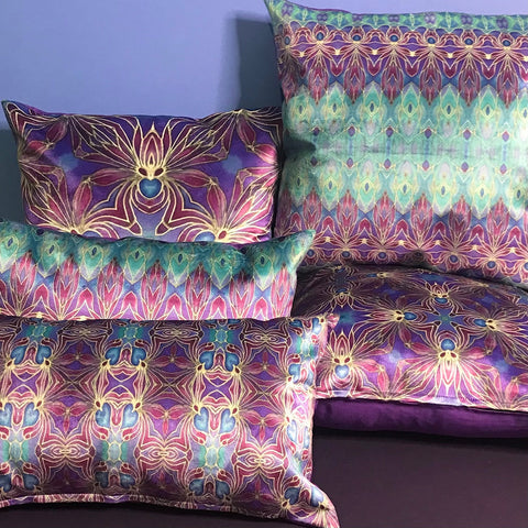 persian orchid purple and turkish blue luxury velvet cushions