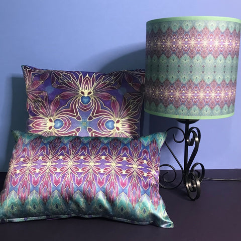 persian orchid luxury velvet cushions and lampshade