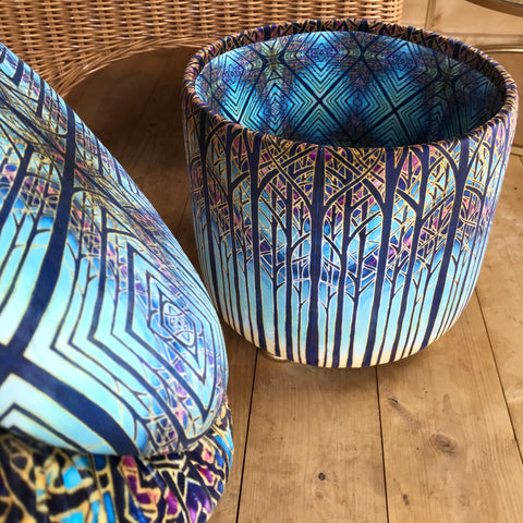 small roun footstool finished showing inside lining fabric