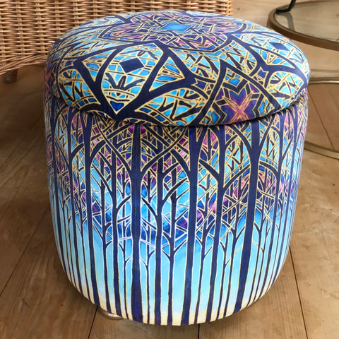 Small round footstool/ottoman in Cathedral design