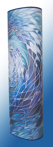 Oval or Tube shape 50-100cm tall lamp with Shoal Design in Ocean Blues