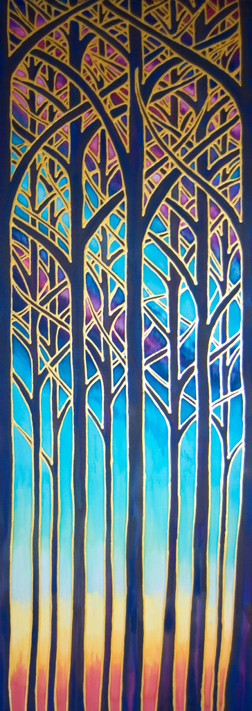 Cathedral Trees Original Art - Forest Original Silk Painting - Turquoise Trees Painting