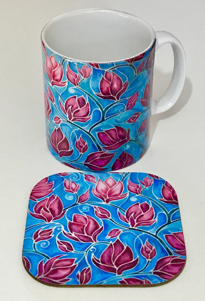 Magnolias mug and coaster box set or mug only In Sky Blue and Pink colours