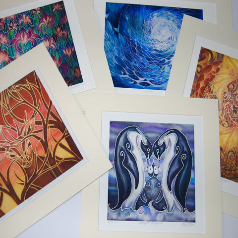 Selection of Art Prints of my hand painted silks - Meikie
