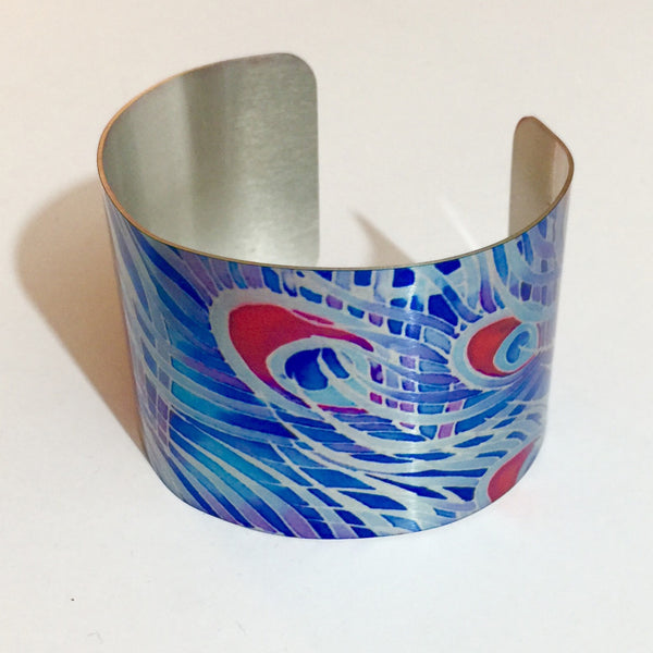 Peacock Feather Cuff Bracelet, Comtemporary Bracelet in easy wear lightweight aluminium.