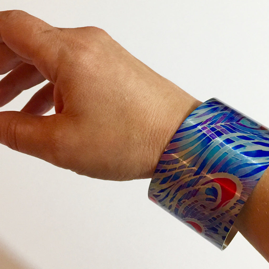 Contemporary Cuff Bracelet - Peacock Feather Bracelet - Statement Cuff Bracelet - Meikie Art