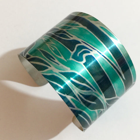 Teal Trees Cuff Bracelet, Comtemporary Bracelet in easy wear lightweight aluminium.