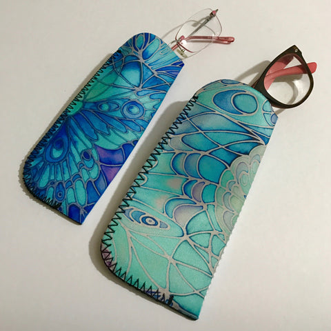 Blue Butterfly Glasses Padded Case - Sunglasses Pouch - Glasses cleaning cloth