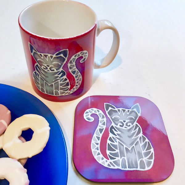 Pink Tabby Cat Mug - Mug and Coaster Box Set - Cat Gift for Her - Cute Grey Tabby Cat
