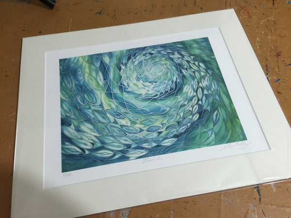 Shoal Signed Limited Edition Print - Fish swimming in the Sea - Sea Green Shoal Print - Bathroom Art