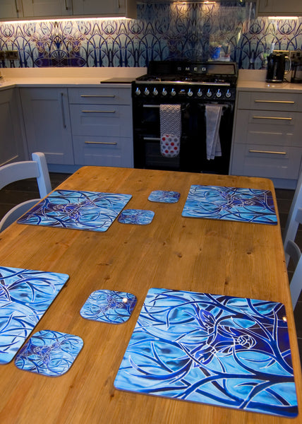 Dramatic Sun Dragons Round Table Mats & Coasters - Table Mats