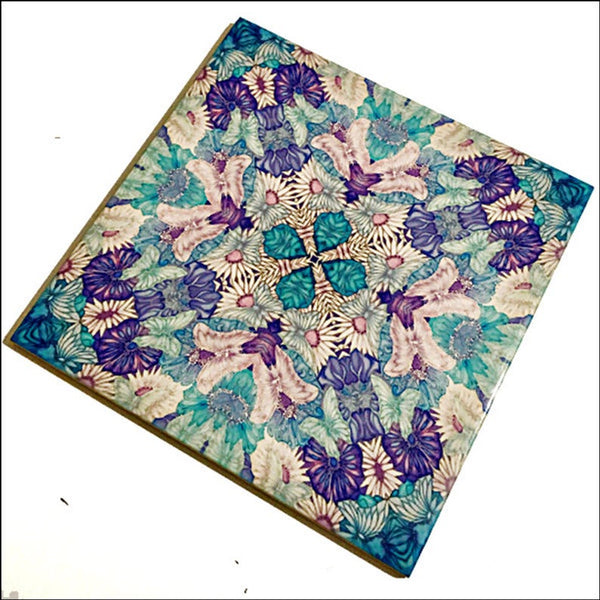 Pretty Stylised Dragonfly Tiles - Green Blue Bohemian Ceramic Printed Tiles