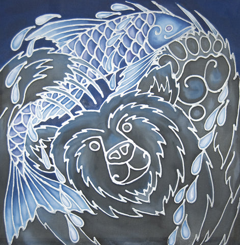 Happy Bear with his catch of the Day Original Silk Painting - hand painted silk Bear with Fish in contemporary blues and charcoals - Original Art