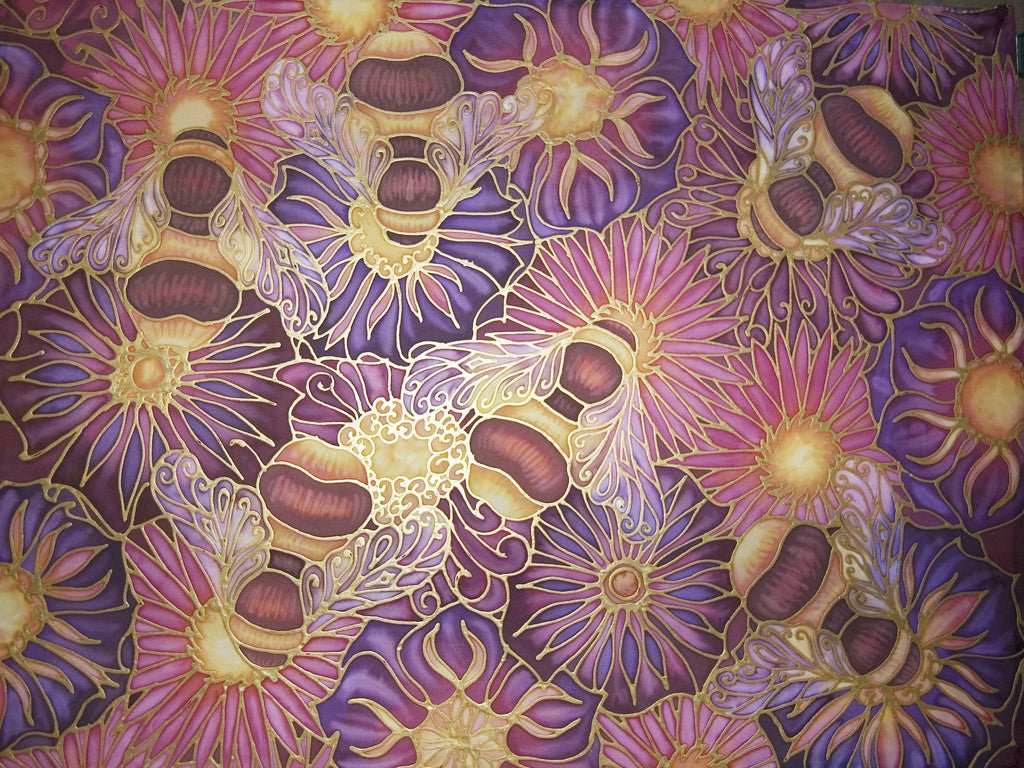 Summer Bees and Flowers Art - Original Honey Bees Silk Painting - Meikie Original Art - Bees on Pink and  Plum Flowers