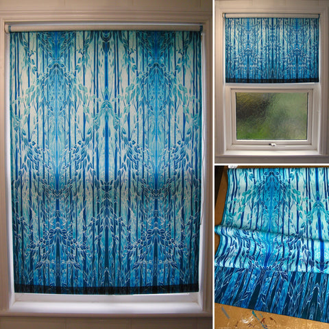 bespoke teal trees roller blind - made to order blinds