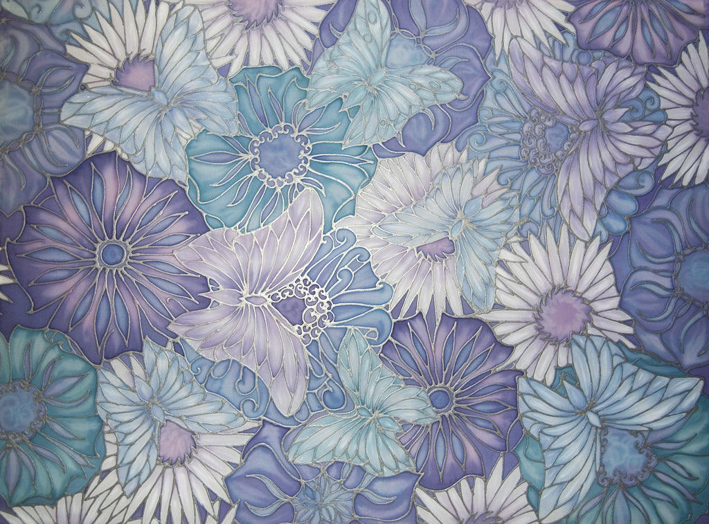 Butterflies and Flowers Hand Painted Silk Original by Meikie -Lilac and Pale Blue