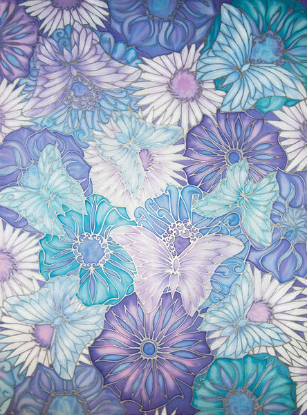 Butterfly Flowers Original Silk Painting - hand painted silk butterflies - lilacs pale blue art