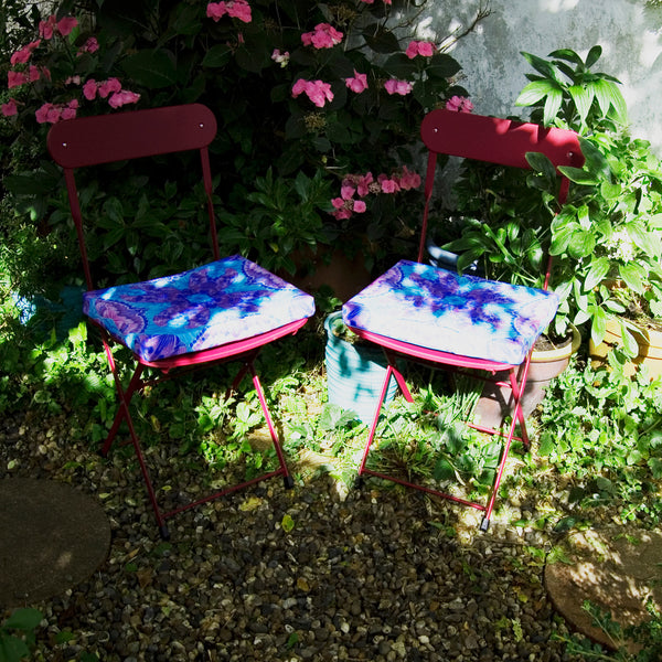 Butterfly Garden Chair Seat Pad - Purple Garden Textiles - Made to Order Shower Proof Fabrics